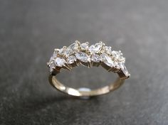 Marquise Diamond Wedding Ring in 14K Yellow Gold by honngaijewelry