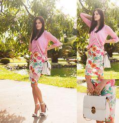 Dresslink Blouse, Quiz Skirt, Mango Sandals, Forever New Bag