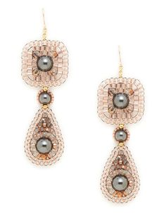 Rose & Hematite Deco Drop Earrings by Miguel Ases at Gilt