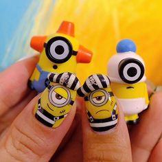 Funky Nail Art, Funky Nails, Cute Nail Art, 3d Nail Art, Minions, Minion Nail Art, Owl Nails, Ring Finger Nails, Animal Nail Art