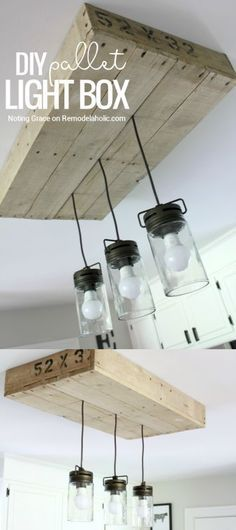 Give your kitchen lighting some rustic style with this simple DIY pallet wood light box. Combined with a mason jar style pendant light fixture, it's the perfect farmhouse lighting! Tutorial from Notin (Best Kitchen Lighting) Rustic Kitchen Lighting, Kitchen Lighting Fixtures, Farmhouse Lighting, Kitchen Rustic, Kitchen Country, Farmhouse Chandelier, Bathroom Lighting, Farmhouse Kitchen Diy, Kitchen Modern