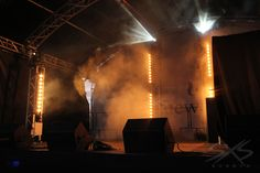 Stage lighting - sunstrips and moving head beam lights with haze. www.sxsevents.co.uk