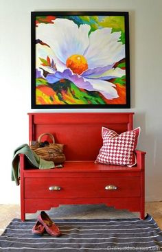 DIY entry bench red | built from Ana-White.com plans I like that the bench is an opportunity for adding color to the room