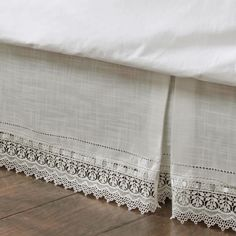 Sophia Ivory Macrame Kick Pleat Bedskirts
