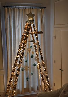 this will be my christmas tree next year.this year i made a fabric tree.love making our trees! Ladder Christmas Tree, Creative Christmas Trees, Outdoor Christmas, Xmas Tree, Winter Christmas, All Things Christmas, Christmas Lights, Christmas Holidays, Christmas Crafts