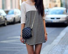 This loose striped dress would look great belted and with leggings Striped Shirt Dress, Fashion Gallery, Fashion Outfits, Womens Fashion, Moda Fashion, Spring Summer Fashion, Dress To Impress, Casual, What To Wear