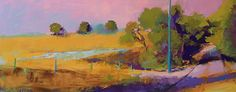 Greenville Road with Pink by Ann Watcher Oil ~ 16 x 40