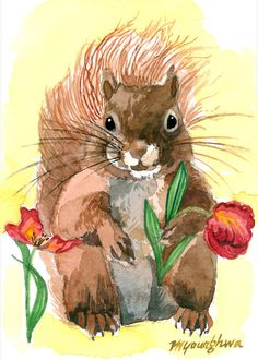 ACEO Limited Edition  - Red Squirrel, windy day