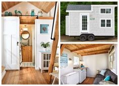 Tiny Beach House Tiny House Layout, Tiny House Design, House Layouts, Cottages And Bungalows, Beach Cottages, Small Space Living, Small Spaces, Distressed Wood Floors, Tiny Beach House