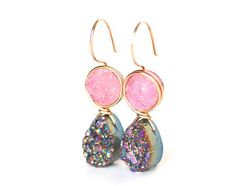 Peony Pink and Rainbow Druzy Dangle Earrings- Limited Edition | Wrenn Jewelry