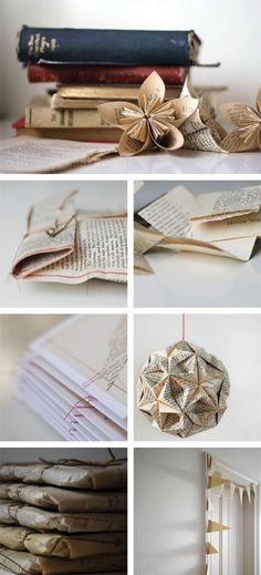 great paper projects.. and used with my favorite material-- book pages!
