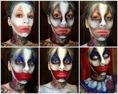 halloween makeup ideasTerrifying but incredible face painting by Michelle MoreGore Halloween Clown, Gruseliger Clown, Halloween Fotos, Clown Halloween Costumes, Amazing Halloween Makeup, Halloween Karneval, Halloween Cosplay, Vintage Halloween, Evil Clown Costume