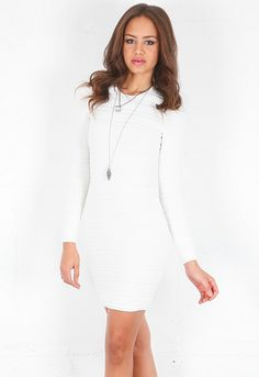 Torn by Ronny Kobo   Sailor Stripes Dress in White  Available at THE MIX