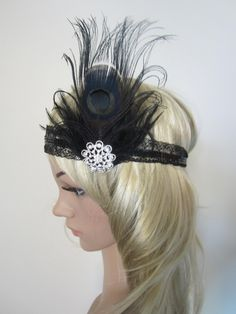 1920s black peacock feather and lace flapper headband. $50.00, via Etsy.