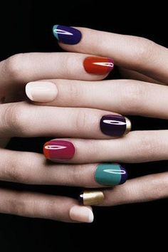 ysl-multi-colour-french-manicure-refinery29 Color French Manicure, French Manucure, French Nails, French Makeup, Ysl, Love Nails, How To Do Nails, Fun Nails, Pretty Nails