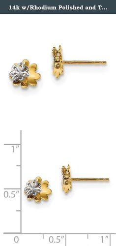 14k w/Rhodium Polished and Textured Flower Post Earrings. Product Description Material: Primary - Purity:14K Finish:Polished Length of Item:8 mm Plating:Rhodium Feature:Solid Material: Primary:Gold Width of Item:8 mm Product Type:Jewelry Jewelry Type:Earrings Sold By Unit:Pair Texture:Textured Material: Primary - Color:Two-Tone Earring Closure:Post & Push Back Earring Type:Themed Items per Pack:2 Plating Color:Silver Tone.