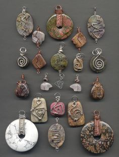 Stone and wire wrapped pendants before oxidizing | Stephanie Smith | Flickr