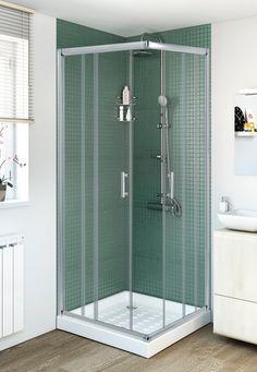 Mampara para plato de ducha cuadrado, baño secundario salón.