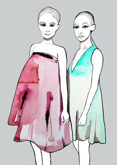Illustration de mode Dior printemps été 2013 par Helen Simms d'aquarelle originale