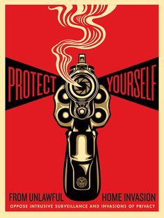 Shepard Fairey Home Invasion 1 2014 Print Poster Obey Giant Gun Pistol Revolver   eBay