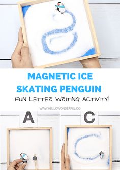 Watch the video for the step-by-step process of how to make this adorable winter Magnetic Ice Skating Penguin Letter Writing Activity. Winter Activities For Kids, Winter Crafts For Kids, Winter Kids, Science For Kids, Kids Crafts, Motor Skills Activities, Writing Activities, Preschool Activities, Kids Writing