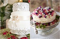 vintage wedding cake with lace ribbon and button adornments, one tier vintage wedding cake covered in pansies