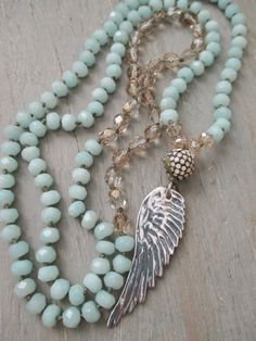 Angel wing long knotted necklace Heavenly sterling by slashKnots