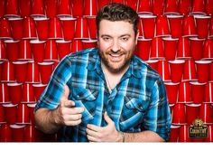 Chris Young -- Your favorite country artists pose in front of the red solo cup wall