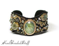 Black and bronze bead embroidered cuff by koolbeadedstuff on Etsy, $135.00
