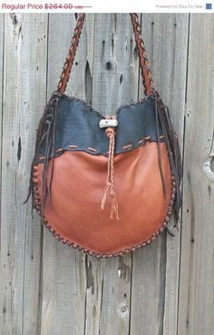 ON SALE Buckskin drumbag Fringed buckskin handbag by thunderrose, $224.40