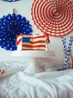 4 July Usa, 4th Of July, Flag Cake, Usa Flag, No Cook Meals, Sugar, Cooking, Food, National Day Holiday