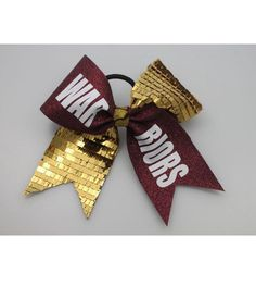 A personal favorite from my Etsy shop https://www.etsy.com/listing/277972452/cheer-bow-gold-shingle-sequins-maroon