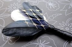 Unique Feathered Gold, Black and Ivory Boutonniere