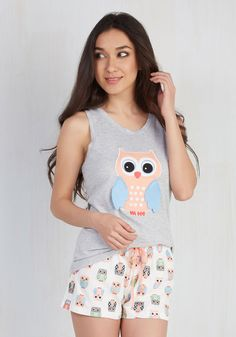 Owl See You in the Morning Pajamas. When it comes to ending the day with this owl-printed pajama set, its never goodbye - only goodnight! #multi #modcloth