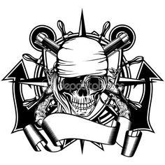 Пиратский череп Иллюстрация — стоковая иллюстрация #122589904