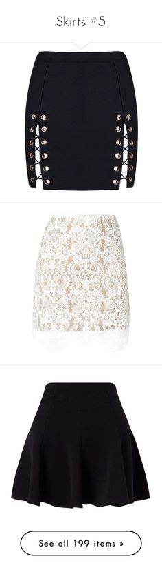 """""""Skirts #5"""" by maarij ❤ liked on Polyvore featuring skirts, mini skirts, bottoms, bandage skirt, lace up skirt, bandage mini skirt, mini skirt, short mini skirts, white and lace skirt"""