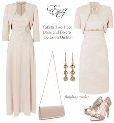 Eliza J blush pink Mother of the Bride Outfits two piece dresses with matching bolero jackets