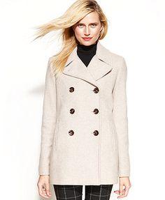Calvin Klein Wool-Cashmere-Blend Peacoat - Coats - Women - Macy's ...