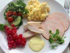 Low carb frokost. En let og mættende low carb frokost med røræg, kylling, kalkun, salat og en hjemmelavet fedtfattig karrydressing.