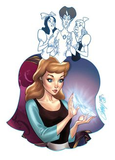 """Her Slipper"" part of J. Scott Campbell's ""Good vs. Evil"" series - Beautifully Mixes Disney Heroines with Their Villains"