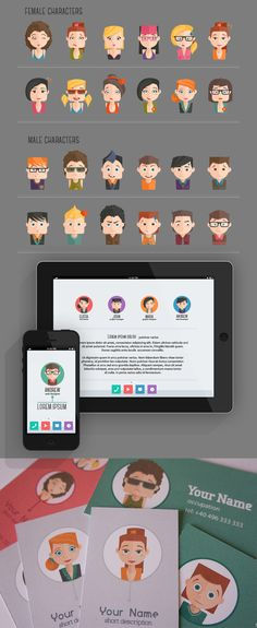 People Avatars by Stella Caraman, via Behance~ hey guys, so I just like these characters... That's all