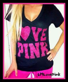 Victoria's Secret Love Pink Black V neck T shirt top PINK Glitter HEART logo M-L #VictoriasSecret #GraphicTee