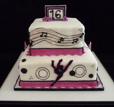 dancer sweet 16 cake. Love the dancer on the front but I don't like the musical notes, and it would need to be different colors and more layers