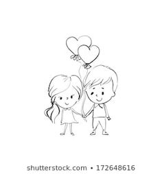 Valentine's Day, two people in love holding hands, boy and girl with balloon. Mommy Tattoos, Twin Tattoos, Mother Tattoos, Baby Tattoos, Tattoos For Kids, Family Tattoos, Couple Tattoos, Small Tattoos, Stencils Tatuagem