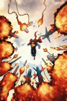"Superman : Kal-El/Clark Kent (Kryptonian) AKA :Gangbuster, Jordan Elliot, Nightwing, Nova, Superboy, Doc Fission --powers : Superhuman strength, speed, hearing, longevity, stamina, and intelligence- Invulnerability- Flight- Freezing breath- Multiple extrasensory and vision powers- Healing factor-Go back in time- Teams : Justice League- Legion of Super-Heroes-DC Comics-current titles : ""Superman"" ""Batman Superman"" ""Justice League""--Action Comics #30 - Superman by Aaron Kuder"