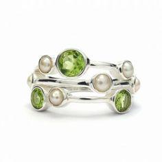 Peridot and pearl silver ring - Silver Jewellery Ireland Silver Pearls, Silver Jewelry, Silver Rings, Peridot, Bling, Pendants, Bracelets, Earrings, Ireland