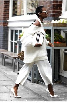 White pants, white sweater, and white pumps Street style, street fashion, best street style, OOTD, OOTD Inspo, street style stalking, outfit ideas, what to wear now, Fashion Bloggers, Style, Seasonal Style, Outfit Inspiration, Trends, Looks, Outfits.
