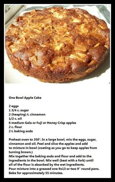 One Bowl Apple Cake - I added t. Sea salt to the recipe. Also, English walnuts, chopped, would be… apple recipes Just Desserts, Delicious Desserts, Yummy Food, Easy Apple Desserts, Easy Apple Cake, Tasty, Apple Deserts, Desserts With Apples, Apple Recipes Easy Quick