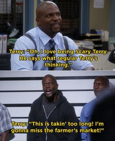 """When we learned what Scary Terry looked like and it didn't dissapoint: 17 Moments From """"Brooklyn Nine-Nine"""" That Made You Laugh And 14 That Made You Sob Stupid Funny Memes, Funny Relatable Memes, Funny Posts, Funny Stuff, 9gag Funny, Funny Things, Brooklyn Nine Nine Funny, Brooklyn 9 9, Funny Cute"""