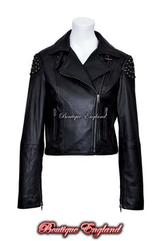SKULL STUDDED Ladies BLACK Womens Studs Biker Rock Real Nappa Leather Jacket Beautiful Biker Style Leather Jacket with Studded back and shoulders. Superb fit. Made from real soft lambskin leather. A very good quality jacket which will fit nicely on any Lady. Real leather ages beautifully with time. It takes on the character of the wearer. Natural leather is breathable so yo wont feel sticky and suffocated as you do with PVC/Synthetic imitation. Price: £ 119.99